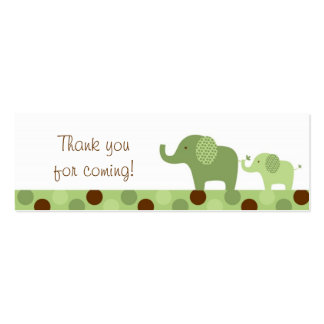 Mod Green Elephant Party Favor Gift Tags Pack Of Skinny Business Cards
