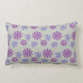 Mod groovy flowers lilac and purple on grey lumbar cushion