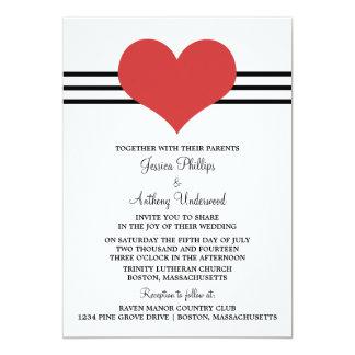 Mod Heart Wedding Invite, Red 13 Cm X 18 Cm Invitation Card
