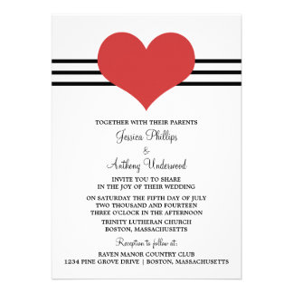 Mod Heart Wedding Invite, Red