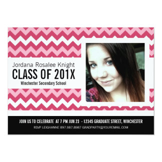 Mod Hot Pink Chevron Girl Graduation 14 Cm X 19 Cm Invitation Card