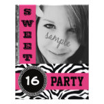Mod Hot Pink Zebra Sweet 16 Party with Photo Invitation