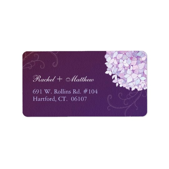 Mod Hydrangeas Deep Purple Wedding Address Labels