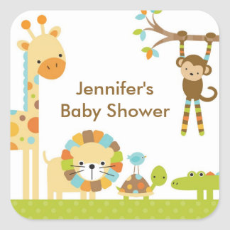 Mod Jungle Safari Baby Shower Stickers