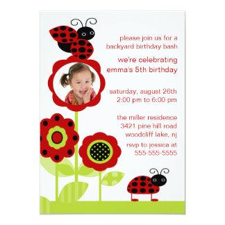 "Mod Ladybug Bugs Photo Birthday Invitation 5"" X 7"" Invitation Card"
