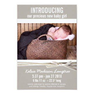 Mod Linen Baby Girl Birth Announcement