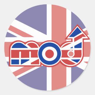 Mod Logo 2 Round union jack stickers