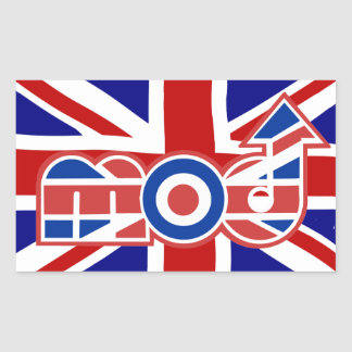 Mod Logo Union Jack Background Rectangle stickers