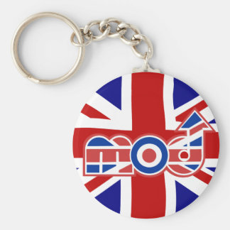 Mod Logo with union Jack Background Basic Round Button Key Ring