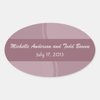 Mod Mauve Pink Wedding Oval Sticker