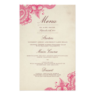 Mod Mehandi Wedding Dinner Menu 14 Cm X 21.5 Cm Flyer