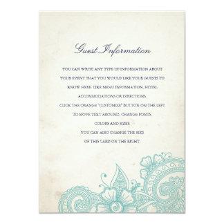 Mod Mehandi Wedding Information Insert Card 11 Cm X 16 Cm Invitation Card
