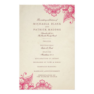 Mod Mehandi Wedding Programs Personalized Flyer