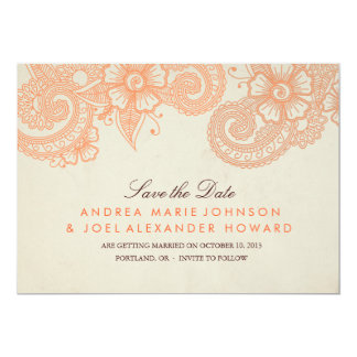 Mod Mehandi Wedding Save the Date 13 Cm X 18 Cm Invitation Card