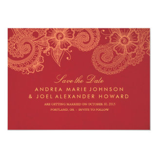 Mod Mehandi Wedding Save the Date 13 Cm X 18 Cm Invitation Card