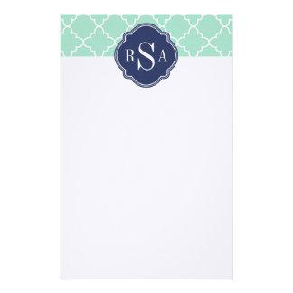 Mod Mint Green Trellis Blue Monogram Custom Stationery