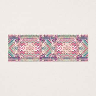 Mod Mirror Pink Turquoise Floral Chevron Stripes Mini Business Card