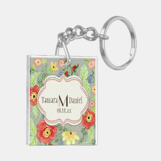 Mod Modern Floral Ranunculus Leaf Rose Bracket Double-Sided Square Acrylic Key Ring