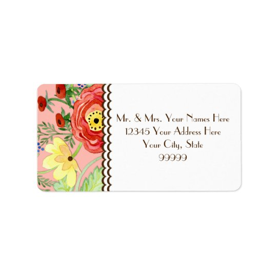 Mod Modern Floral Ranunculus Leaf Rose Bracket Label