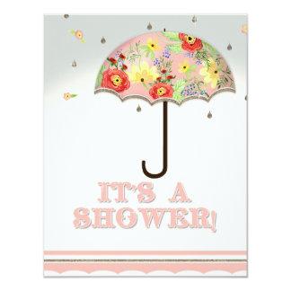 Mod Modern Floral Ranunculus Umbrella Baby Shower 11 Cm X 14 Cm Invitation Card