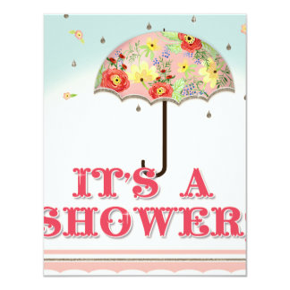 Mod Modern Floral Ranunculus Umbrella Baby Shower Card