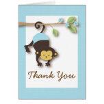 Mod Monkey Baby Boy Blue Thank You Card