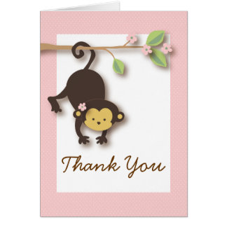 Mod Monkey Baby Girl Pink Thank You Card