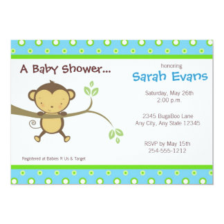 Mod Monkey Baby Shower Invitations - Blue