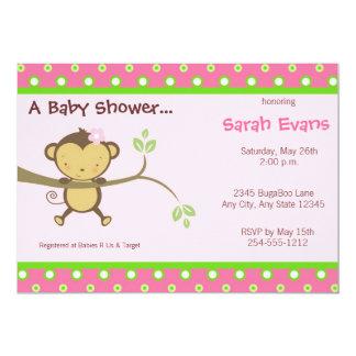 Mod Monkey Baby Shower Invitations - Pink