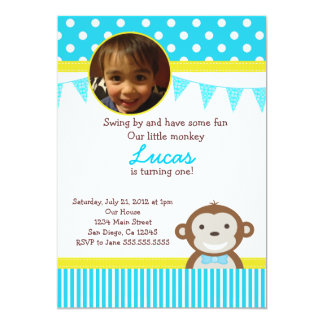 "Mod Monkey Birthday Party Invitations for Boy 5"" X 7"" Invitation Card"