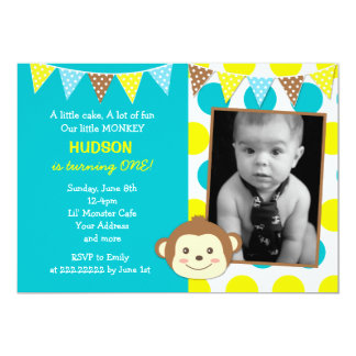 Mod Monkey Boy Photo Birthday Invitations
