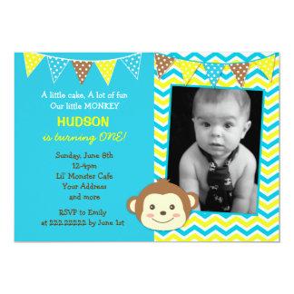 Mod Monkey Boy Photo Birthday Invitations