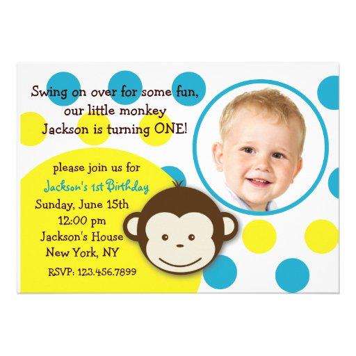Mod Monkey Boy Photo Birthday Party Invitations