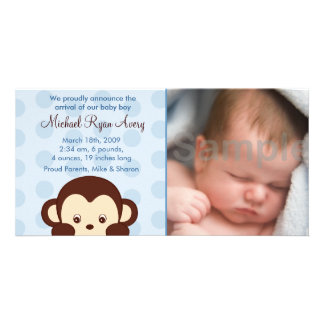 Mod Monkey Custom Photo Birth Announcements Card