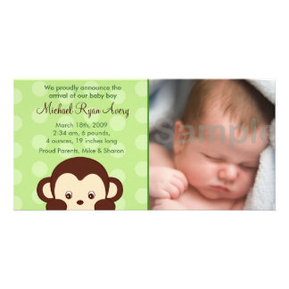 Mod Monkey Custom Photo Birth Announcements Photo Cards