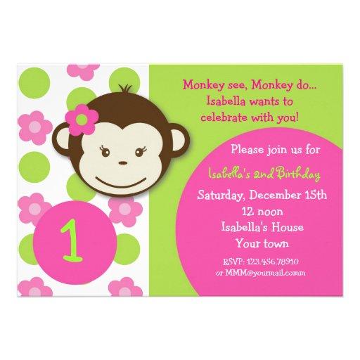 Mod Monkey Girl BIrthday Party Invitations