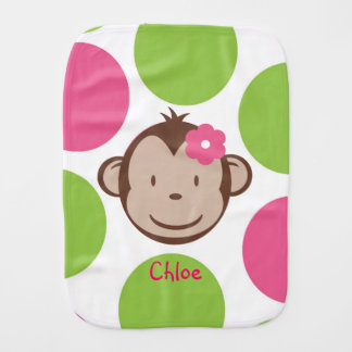 Mod Monkey Girl Burp Cloth