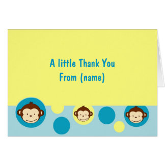 Mod Monkey Personalized Thank You Note Cards