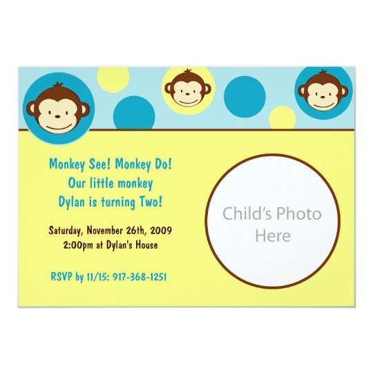 Mod Monkey Photo Birthday Invitation