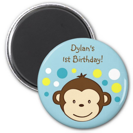 Mod Monkey Polka Dots Birthday Favour Magnets