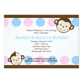 Mod Monkey Twins Pink/Blue 5x7 Birthday 13 Cm X 18 Cm Invitation Card