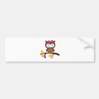 Mod Owl Design Birthday Party Invitation Favors Bumper Sticker