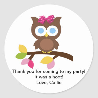 Mod Owl Design Birthday Party Invitation Favors Classic Round Sticker