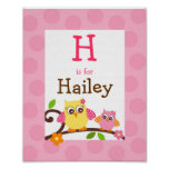 Mod Owl Flower Girls Nursery Wall Art Name Print