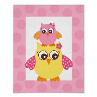 Mod Owl Flower Girls Nursery Wall Art Print
