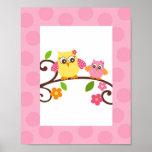 Mod Owl Flower Girls Nursery Wall Art Print