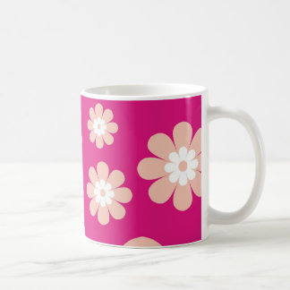 Mod Peach Flowers On Pink Coffee Mug