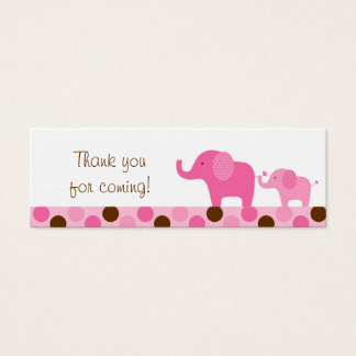 Mod Pink Elephant Party Favor Gift Tags Mini Business Card