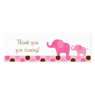 Mod Pink Elephant Party Favor Gift Tags Pack Of Skinny Business Cards