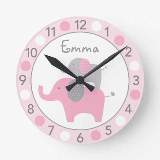 Mod Pink Elephant Personalised Nursery Wall Clock